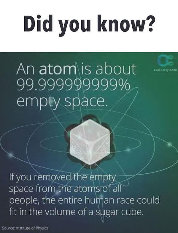 an atom is 99.9999999% empty space